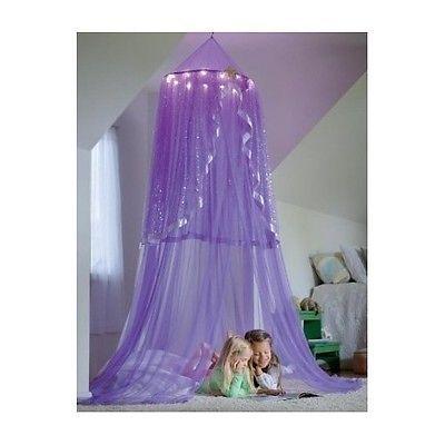 Led Purple Bed Canopy Play Star Lights Dorm Twinkle Net Princess Room Girls Purple Princess Room Girls Room Decor Princess Room