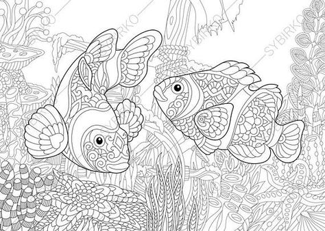 Coloring Pages For Adults Clown Fishes Adult Coloring Pages