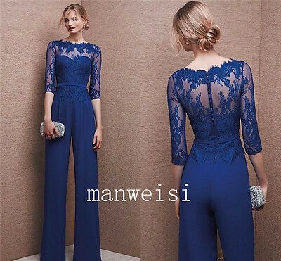 Wedding Formal Custom Mother Of The Bride Jumpsuits Navy Blue Chiffon Suits 2019 Bride Jumpsuit Jumpsuit For Wedding Guest Wedding Guest Pants