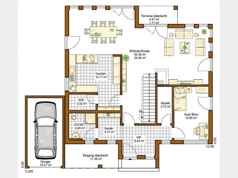 Interessanter Grundriss für EG, aber ohne Garage Architektur - offene kuche wohnzimmer grundriss