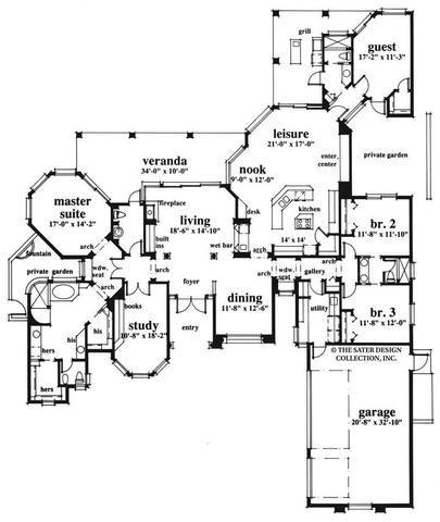 Spring Hill Lane House Plan House Plans Mediterranean Style House Plans Floor Plans
