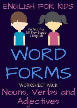 Efl Tefl Teacher Teachers Grammar Learnenglish Ks1 Keystage1 Nouns Verbs Adjectives Nouns And Verbs Word Form Nouns and adjectives worksheet ks1