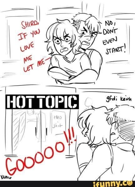 """lol the sign that says """"emo shit"""", voltron, keith and shiro Voltron Klance, Voltron Comics, Voltron Memes, Voltron Fanart, Form Voltron, Voltron Ships, Shiro Voltron, At The Disco, Hot Topic"""