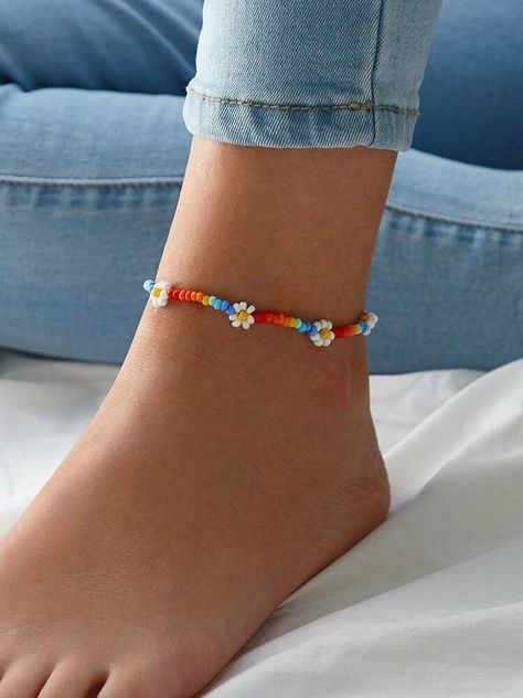 Check out this Daisy Decor Beaded Anklet Romwe and explore more to meet your fashion needs! Diy Bracelets Easy, Bracelet Crafts, Jewelry Crafts, Handmade Jewelry, Daisy Bracelet, Beaded Crafts, Handmade Bracelets, Beaded Anklets, Beaded Earrings