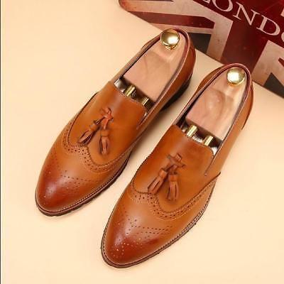 Handmade Men Wingtip brogue Tassels Shoes Men Burgundy color formal shoes