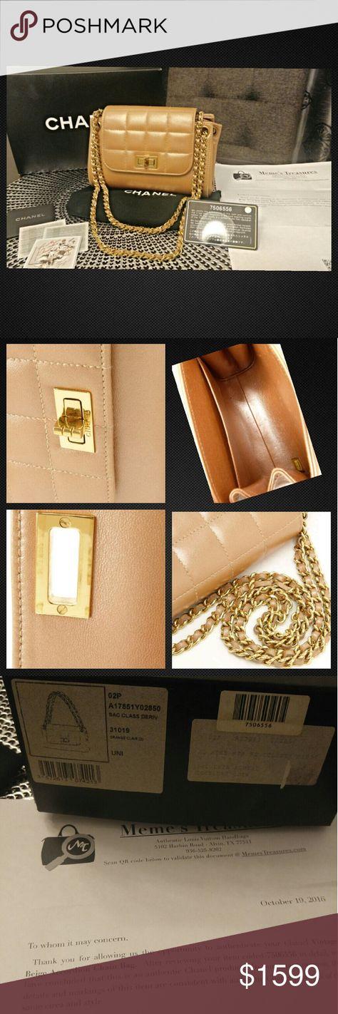 Authentic 2 55 Chanel Pearl Accordion Chain Flap Authentic 2 55 Pearl Beige Accordion Chain Shoulder Flap Bag W Original Dust Chanel Pearls Chanel Bag Flap Bag