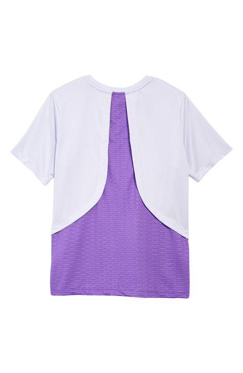 She'll find it easy to keep cool in this superbreathable top featuring an on-trend layered look and Dri-FIT moisture-wicking technology. As a bonus, the Swoosh changes color when it's exposed to sunlight and UV light. Style Name:Nike Kids' Dri-Fit Breathe Instacool T-Shirt (Big Girl). Style Number: 6133517.