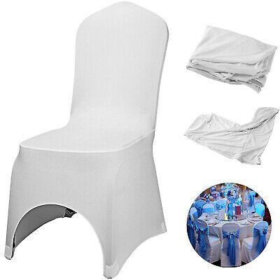 100pcs Stretch Spandex White Folding Chair Covers Elastic