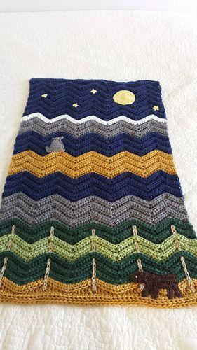 Crochet Patterns FOREST BEAR STRIPES Afghan Pattern *EASY*