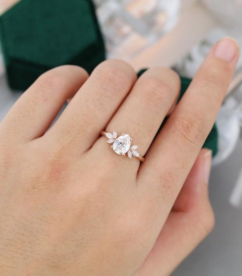 Pear shaped Moissanite engagement ring vintage Unique Marquise cut diamond Cluster engagement ring rose gold wedding Bridal gift for women Engagement Solitaire, Celebrity Engagement Rings, Diamond Cluster Engagement Ring, Dream Engagement Rings, Princess Cut Engagement Rings, Engagement Ring Cuts, Vintage Engagement Rings, White Gold Wedding Bands, Diamond Wedding Bands