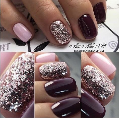 Nails Pink Purple Glitter Glitternails Pink Gel Nails Nails Pink Nails