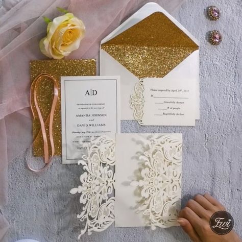 Exclusive ivory laser cut wedding invitation with glitter rose gold paper and shinning peach ribbon