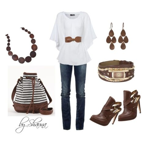 White belted shirt with brown wood accents