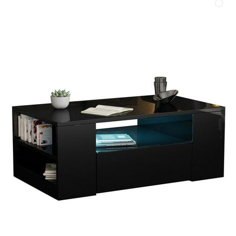 Details About Modern Black High Gloss Coffee Table 2 Drawer