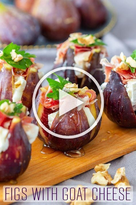 Figs with goat cheese and Spanish jamon are easy appetizers with a wow factor. No-bake, these stuffed figs are ready in no time and taste amazing! #happyfoodstube #figs #goatcheese #jamon #appetizers #recipe #partyfood #fingerfood #canapes #jamon via @happyfoodstube