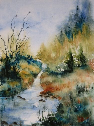 Aquarelle Abby Paysage Riviere Campagne Arbres Ruisseau Reflets