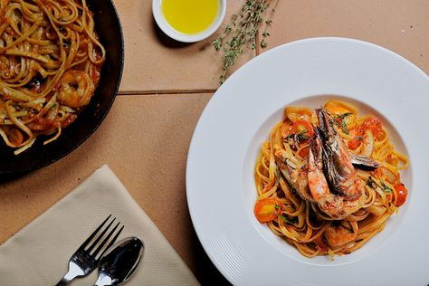 Weekend Lunch has never tasted so fresh. Seafood Linguini topped with fresh cherry tomatoes grab Lunch and Shop @ First Mall for the weekend