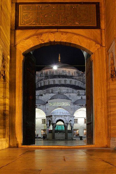 Leinwandbild Moschee bei Nacht