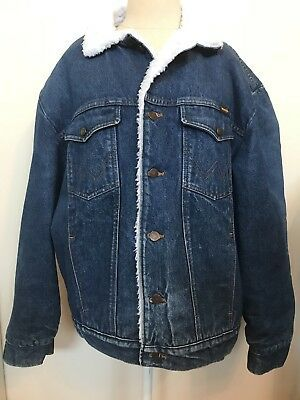 Wrangler Vintage Sherpa Lined Denim Coat Men S Large Western Ranch