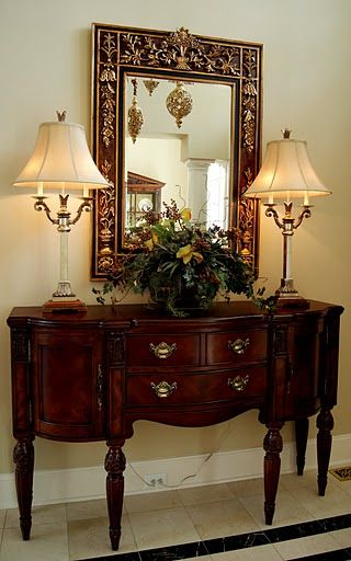 table for foyer. Console Table, Large Mirror, Two LampsPerfect For Hall / Entryway | FOYER-Homes 1st Impression Pinterest Tables, Consoles And Table Foyer U