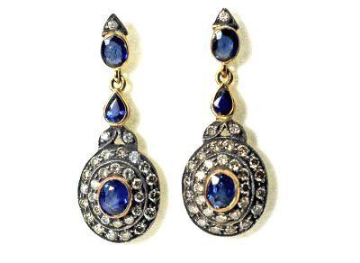 Edwardian Style Sapphire and Diamond Drop Earrings #dropearrings #edwardian