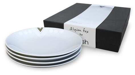 White Noise by Alyson Fox for Ink Dish 4 Side Plate Gift Set.