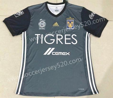 29b934e6b 2018-19 Six Stars Tigres UANL 2nd Away Gray Thailand Soccer Jersey ...