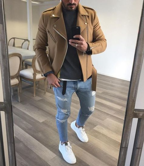 For an everyday outfit that is full of character and personality pair a khaki biker jacket with baby blue destroyed skinny jeans. This outfit is complemented perfectly with white plimsolls.