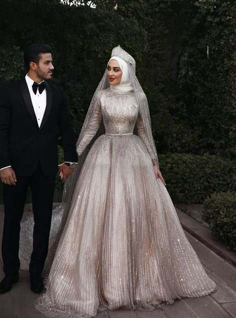 Sparkly Muslim long sleeve sequins Wedding Gown with matching veil - Nirvanafourteen Muslim Wedding Gown, Muslimah Wedding Dress, Muslim Wedding Dresses, Bridal Dresses, Prom Dresses, Dress Muslimah, Couple Wedding Dress, Wedding Robe, Sequin Wedding