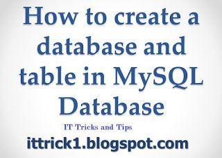 How To Create A Database Mysql Create Database Mysql Database Create