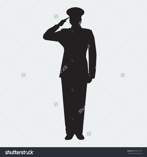Illustrated Army General Silhouette With Hand Gesture Saluting Vector Military Man Veterans Day Design Element Army Drawing Silhouette Illustration