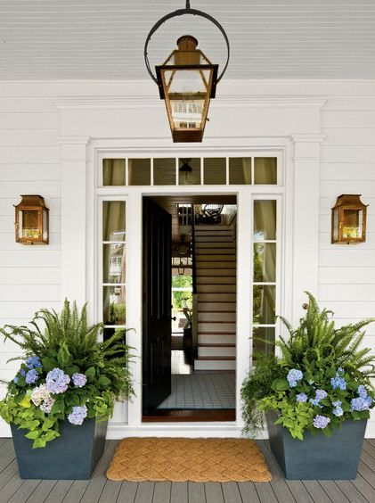 Shade loving container gardening, planters for front porch, ferns, hydrangea and sweet potato vine. Gorgeous and welcoming.