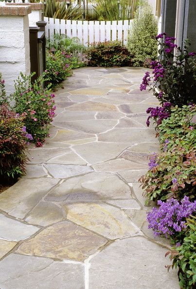 Landscaping - LOVE this for a walkway to a backyard, etc.// oh yess. I love this idea.. love the purple plants/flowers
