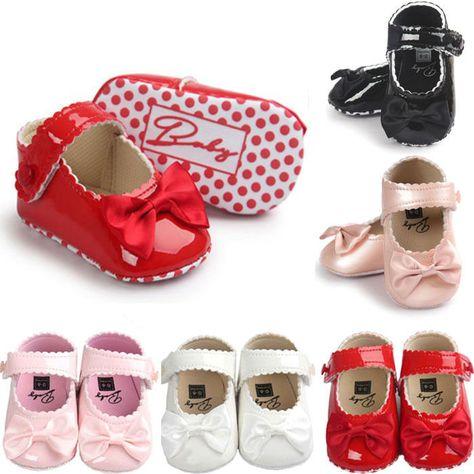 Baby Toddler Girls Princess Bow Soft Bottom Shoes Prewalker Infants Crib Sole