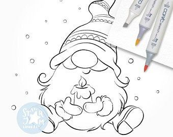 Christmas Gnomes Digital Stamps Scandinavian Gnome Graphics Etsy Easy Christmas Drawings Digi Stamp Christmas Coloring Pages