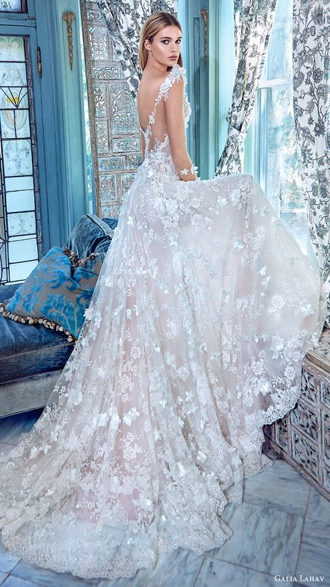 galia lahav bridal spring 2017 illusion long sleees deep vneck aline lace wedding dress (arabella) sv illusion back train