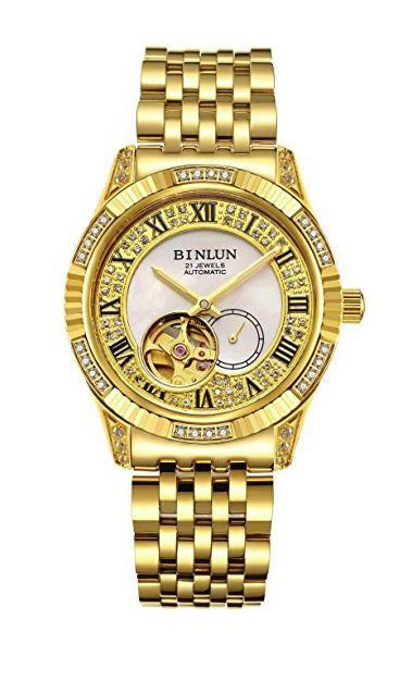 032a44f8cc5 Binlun Mens Tourbillon 18 Karat Gold Plated Luxury Watch Free Priority  Shipping  BINLUN