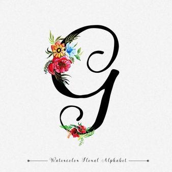 Letra G Fundo Floral Aquarela Em 2020 Inscricao Aquarela Floral