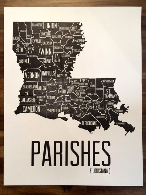 """Parishes of Louisiana - my old home parish of New Iberia is on the central arch of the """"boot""""."""