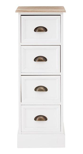 Connecticut White Narrow 30 Cm Chest Of Drawers Meuble Tiroir
