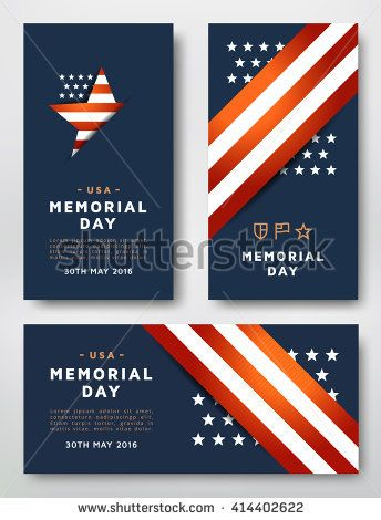 Memorial Day Cards Design Vector Template Cards Designed In The American National Colors Card Design Memorial Day Design