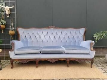 3 Zits Bankje.Vintage 3 Zits Bankje Blauw Velvet Sofa Queen Ann Barok Bank