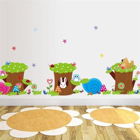 Pas Cher Hibou Lapin Fourmi Flower Tree Stickers Muraux Pour