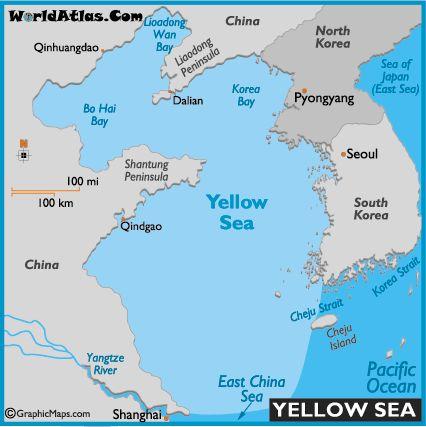 Yellow Sea Map Maps Pinterest - best of world map at night korean