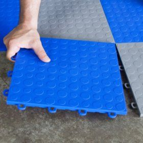 Blocktile Modular Interlocking Garage Floor Tiles 12 X 12 X 1 2 30 Pk Garage Floor Tiles Garage Furniture Rubber Garage Flooring