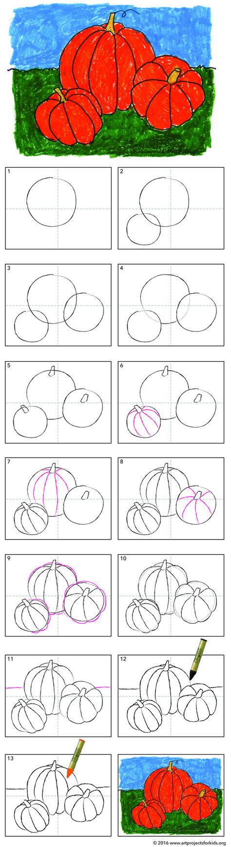 How to Draw a Pumpkin. Great for 3rd graders on up. PDF tutorial available. #pumpkin #howtodraw #directdraw