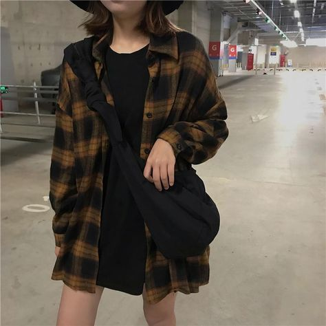 VINTAGE AESTHETIC CHIC PLAID LOOSE SHIRT One Size-Yellow