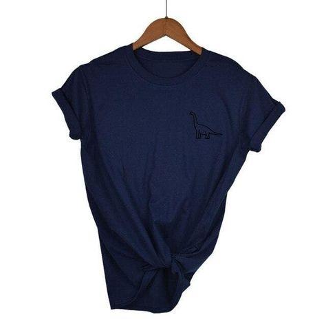 Brachiosaurus Shirt<br> Cotton T-shirt - Navy Blue-B / XL