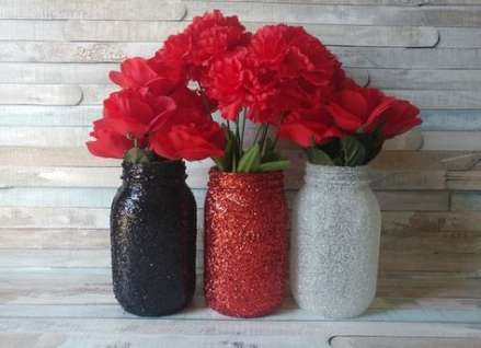Red And Black Decorations,Red And Black Wedding Centerpieces,Red And Black Mason Jars,Red Glitter Mason Jars Glitter Black Mason Jar Vases