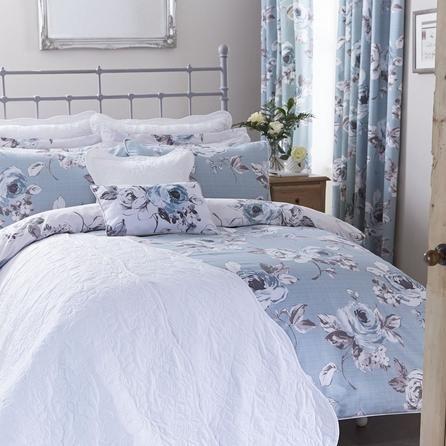 Dunelm Vintage Floral Reversible White And Duck Egg Blue Pretty Duvet Cover Set Vintage Bedding Set Luxury Bedding Master Bedroom Duck Egg Bed Linen